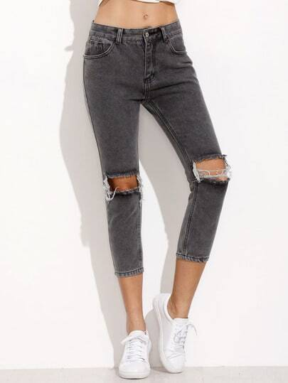 Grey Ripped Slim Denim Pants