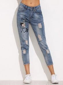 Blue Cartoon Print Ripped Denim Pants