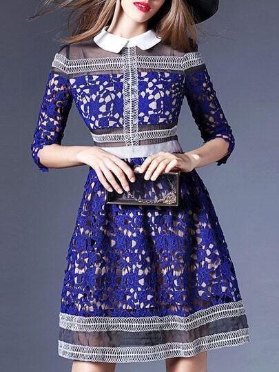 Blue Lapel Crochet Hollow Out A-Line Dress