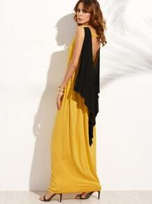 Backless Ruffle Pocket Sleeveless Maxi Dress