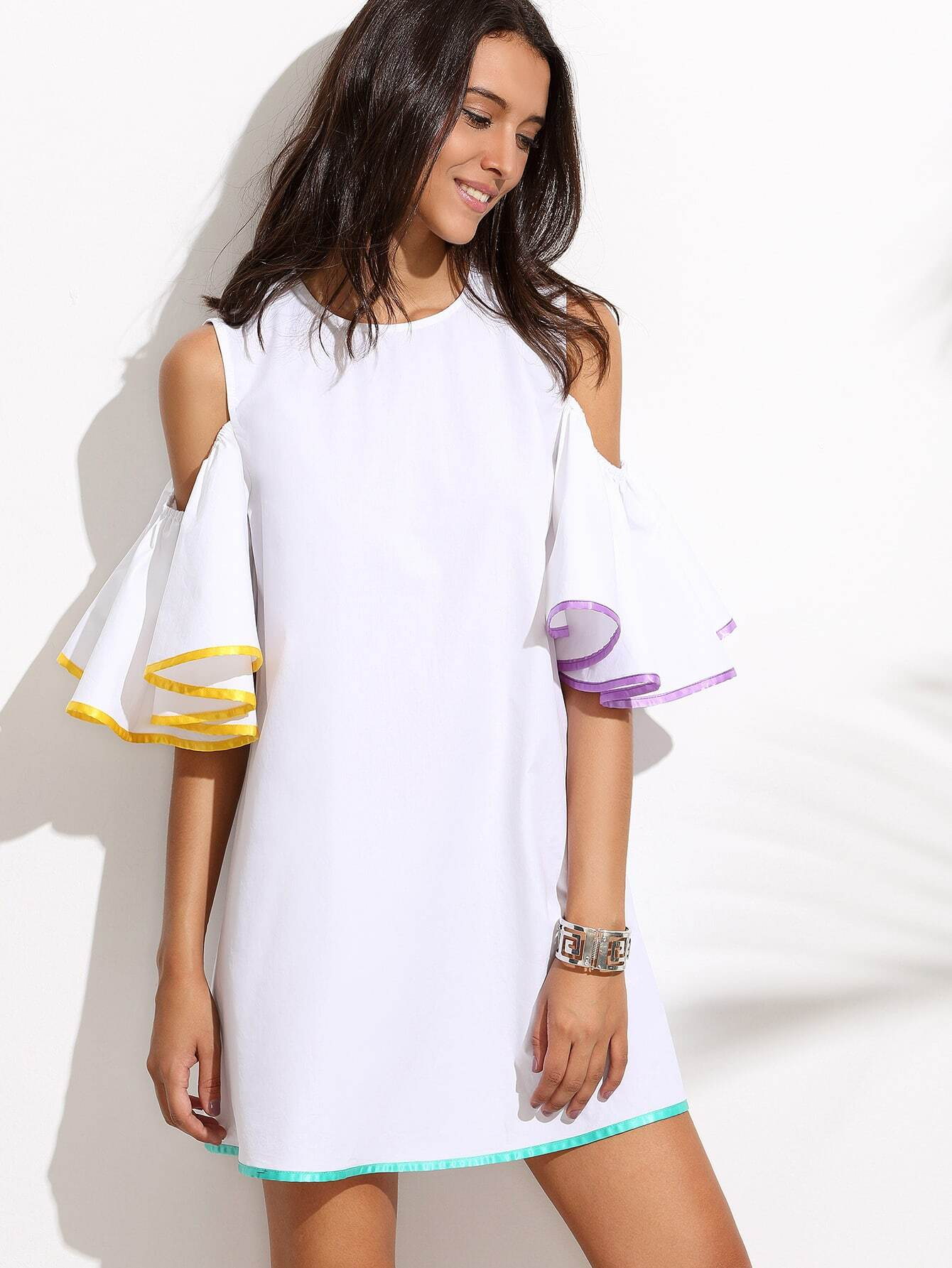 Фото Contrast Binding Frill Sleeve Keyhole Back Dress. Купить с доставкой