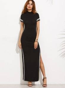 Black Striped Trim Short Sleeve Split Maxi Dress