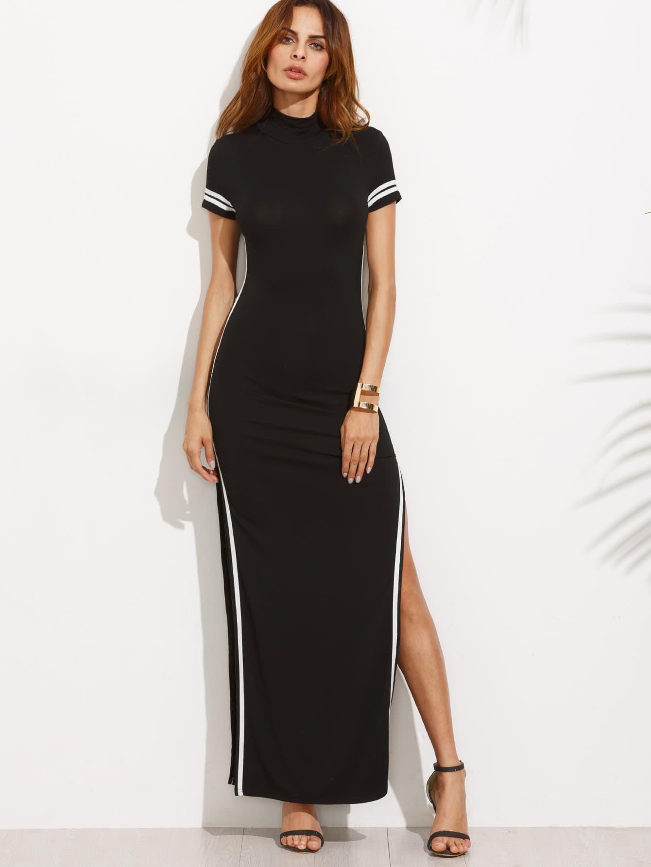 Striped Trim High Split Cutout Back Dress dress160718714