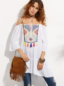 White Embroidered Tassel Cold Shoulder Shift Dress