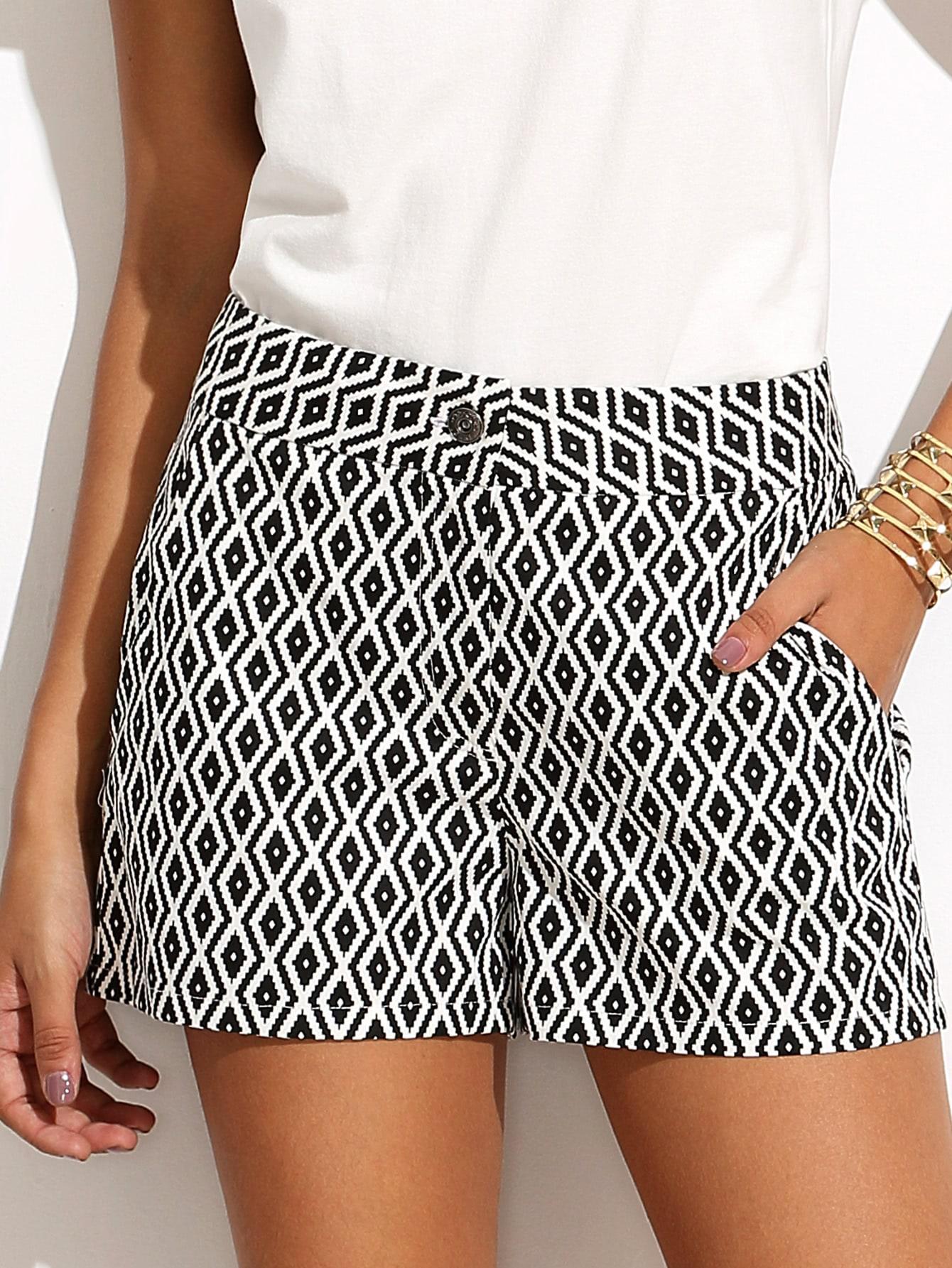 Black and White Pattern Pocket Shorts -SheIn(Sheinside)