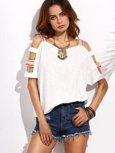 Camiseta manga con corte - beige