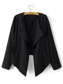 Asymmetric Hem Blazer With Pockets