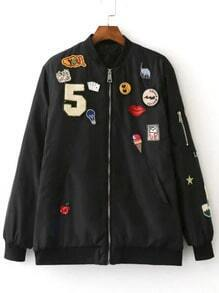 Black Crew Neck Applique Pocket Jacket