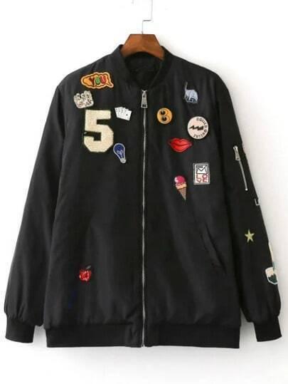 Black Crew Neck Applique Pocket Jacket