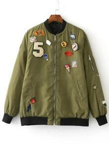 Army Green Crew Neck Applique Pocket Jacket