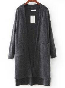 Grey Pocket High Low Cardigan