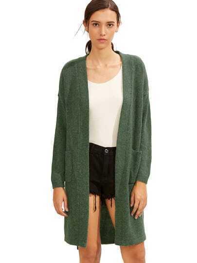 Cárdigan bolsillo asimétrico - verde
