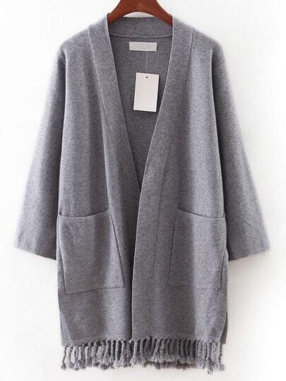 Cárdigan bolsillos borlas - gris