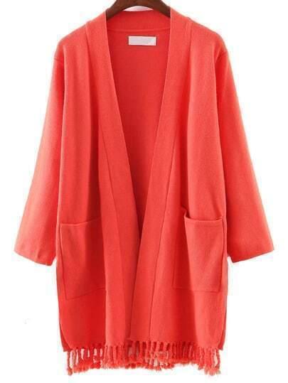 Cárdigan bolsillos borlas - rojo ladrillo