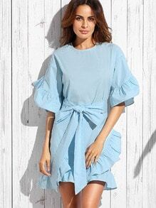 Blue Bow Ruffle Half Sleeve Dress