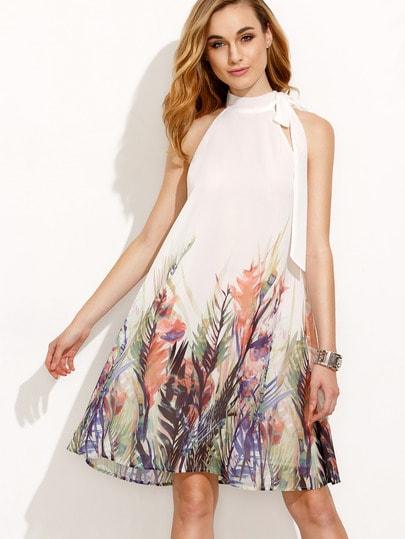 Print Bow High Neck Sleeveless A-line Dress