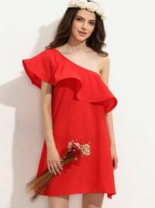 Red Ruffle One Sleeve Shift Dress