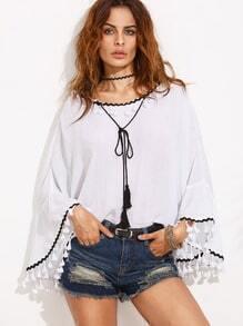 White Tassel Contrast Trim Bell Sleeve Blouse