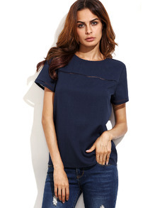 Navy Hollow Insert Short Sleeve Blouse