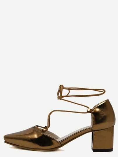 Gold Square Toe Lace-up Chunky Pumps