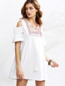 White Open Shoulder Tie Neck Embroidered Dress