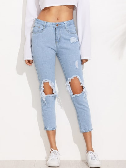 Knee Destroyed Skinny Ankle Jeans