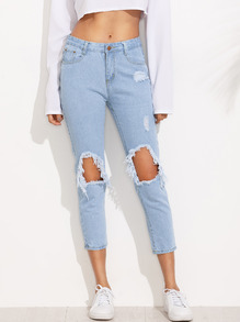 Blue Knee Ripped Skinny Ankle Jeans
