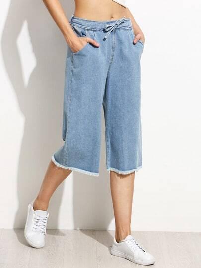 Blue Drawstring Waist Frayed Wide Leg Jeans