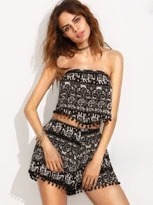 Black Paisley Print Pom Pom Bandeau Top With Shorts