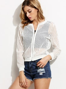 White Striped Mesh Bomber Jacket