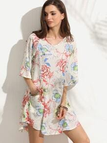 Ivory Floral Print Half Sleeve Keyhole Back Pockets Dress