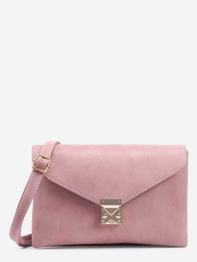 Pink Pushlock Closure Envelope Crossbody Bag