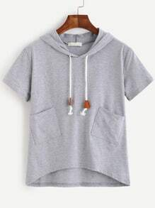 Grey Short Sleeve Pockets Hooded T-shirt