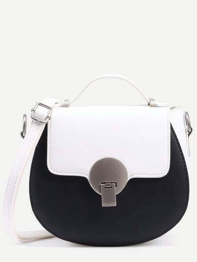 Contrast Faux Leather Metal Closure Saddle Bag