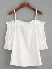 White Cold Shoulder Appliques Hollow Out Ruffle Blouse