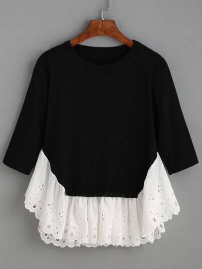 Black Long Sleeve Contrast Ruffle Hem Sweater