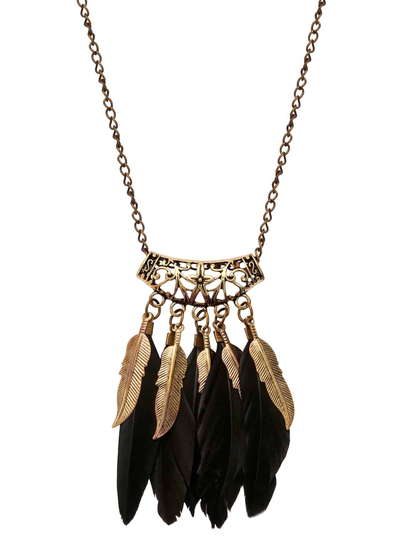 Black Feather Pendant Necklace