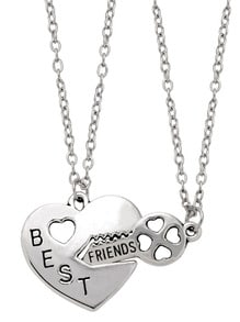 Silver Letter Etched Heart Lock and Key Pendant Necklace Set