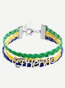 Bracelet en tresse motif lettres - multicolore