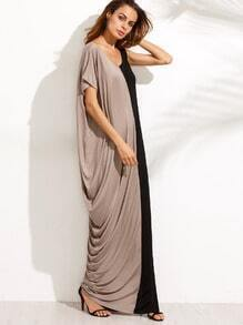 Color Block Scoop Neck Split Side Maxi Dress