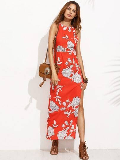 Floral Print Sleeveless Split Side Long Dress