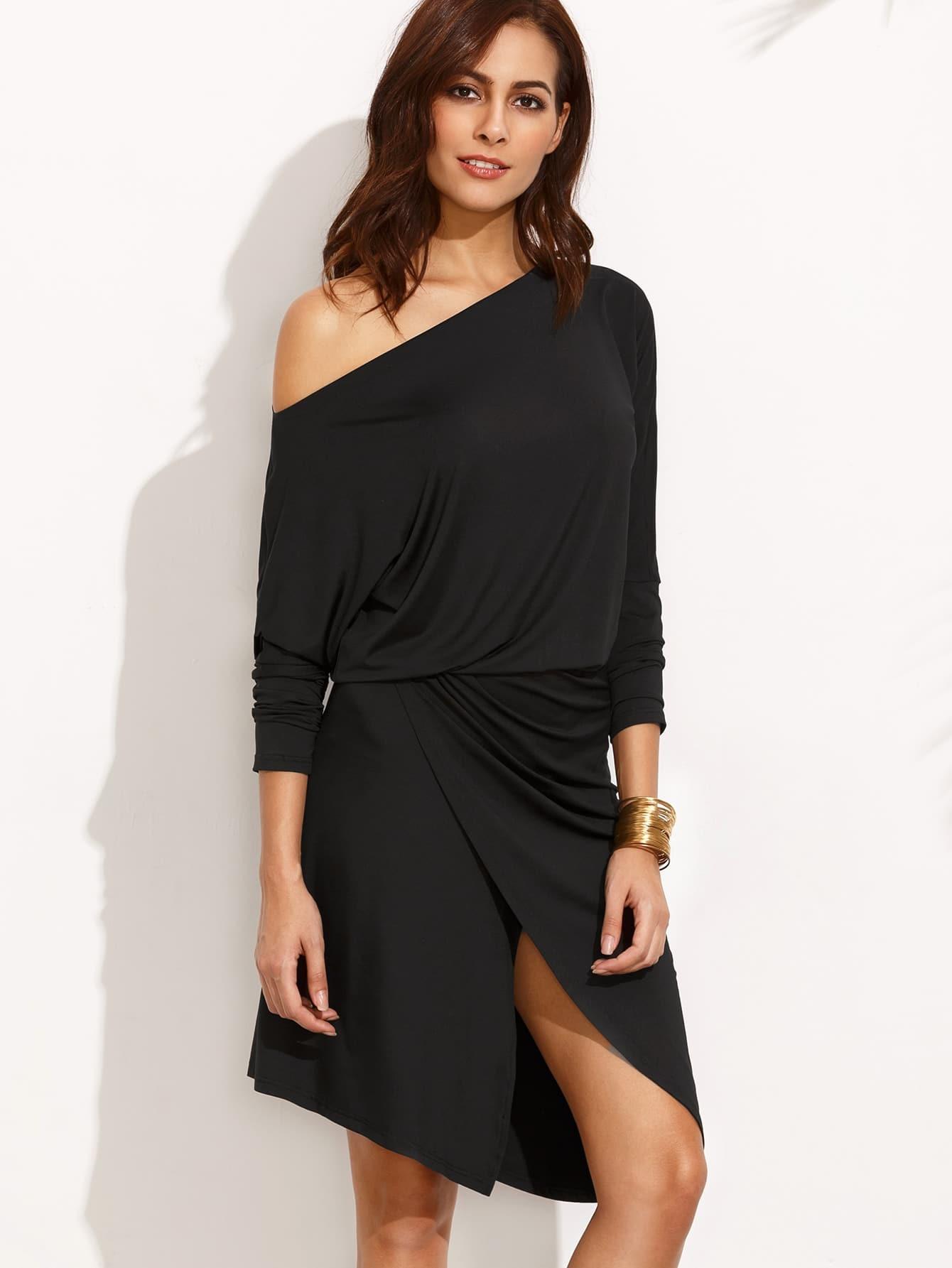 Black One Shoulder Asymmetrical Dress