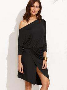 Oblique Shoulder Overlap Front Dress