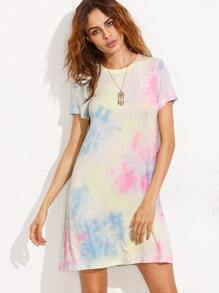 Multicolor Print Cut Out Back Short Sleeve Dress