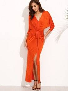 Rust Red V Neck Tie Wait Long Dress