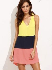 Color Block V Neck Sleeveless Shift Dress