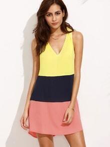 Color Block V Neck Sleeveless Shift Dress