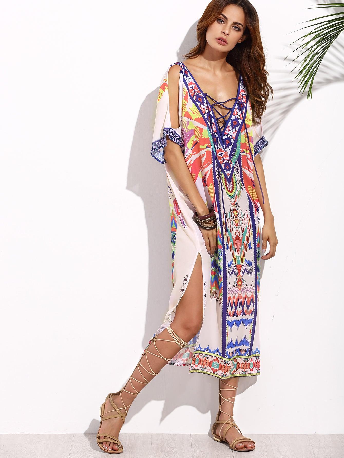 Double Plunge Crisscross Tribal Print Kaftan Dress