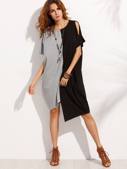Contrast Cut And Sew Asymmetric Dress