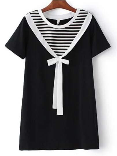 Black And White Round Neck Stripe Bow Dress
